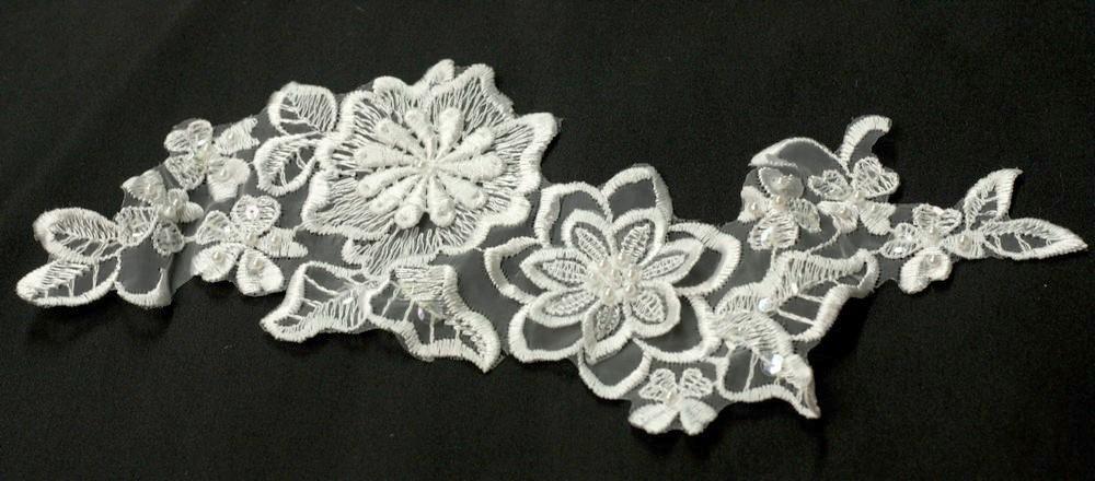 Applique de fleurs Perles et sequins 3D